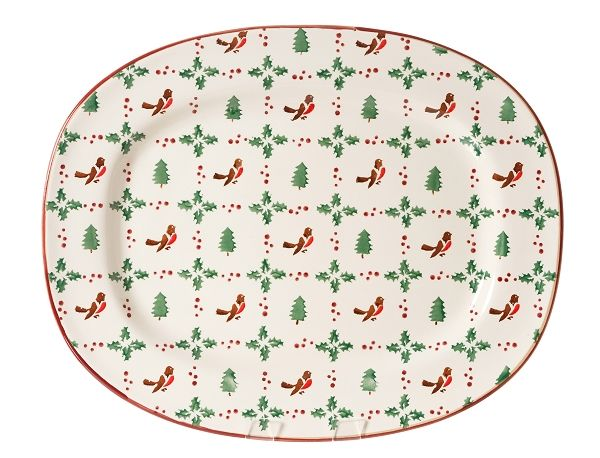 """Winter Robin Oval Platter. The grand piece de resistance of the tabletop offering, the oval platter will be stunning on your dresser or glorious under your turkey. A family size, important piece for the home, this platter also makes one of our most welcome and amazing gifts. The slightly raised edge keeps in the juices and keeps those tiny potatoes where they belong  Measurements:  44cm L x 35cm W (17"""" L x 14"""" W)"""