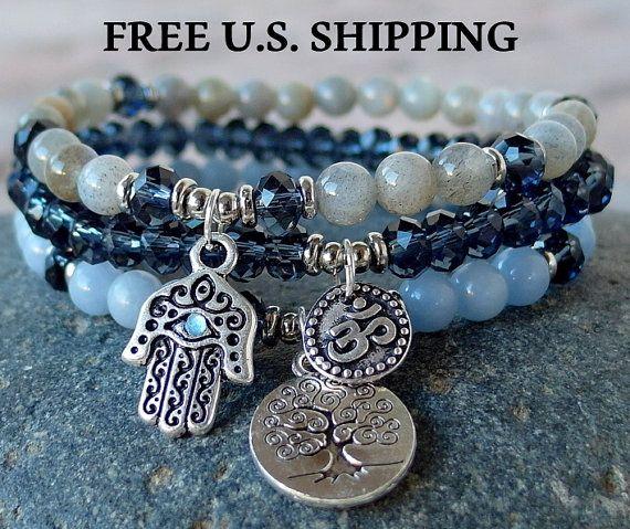 Yoga stack, labradorite, Angelite, set of 3, mala bracelets, Yoga bracelets, bracelet set, Reiki Charged, stacking malas, Labradorite Mala