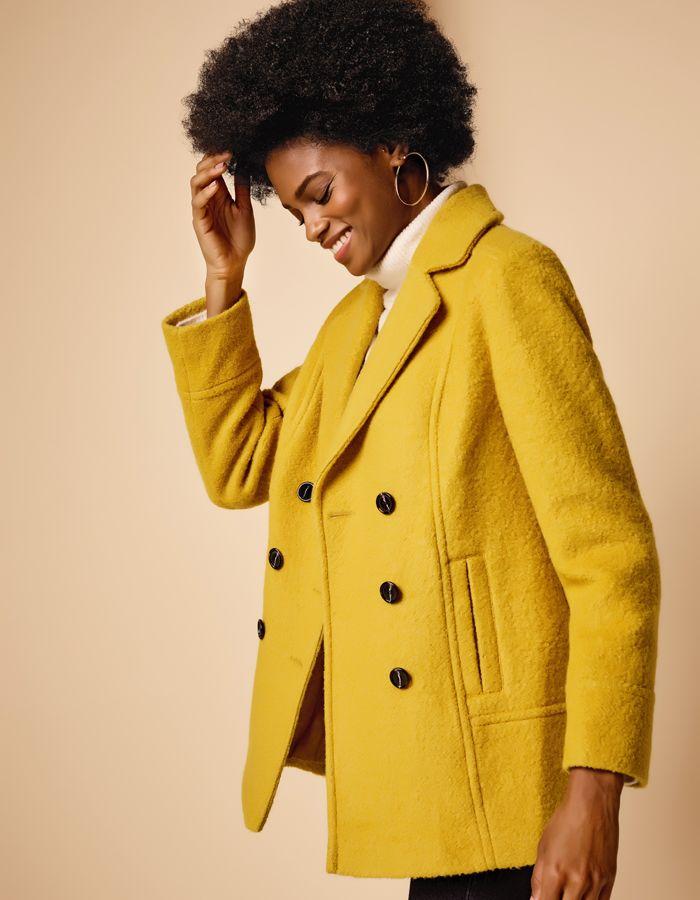 Womens Mustard Peacoat