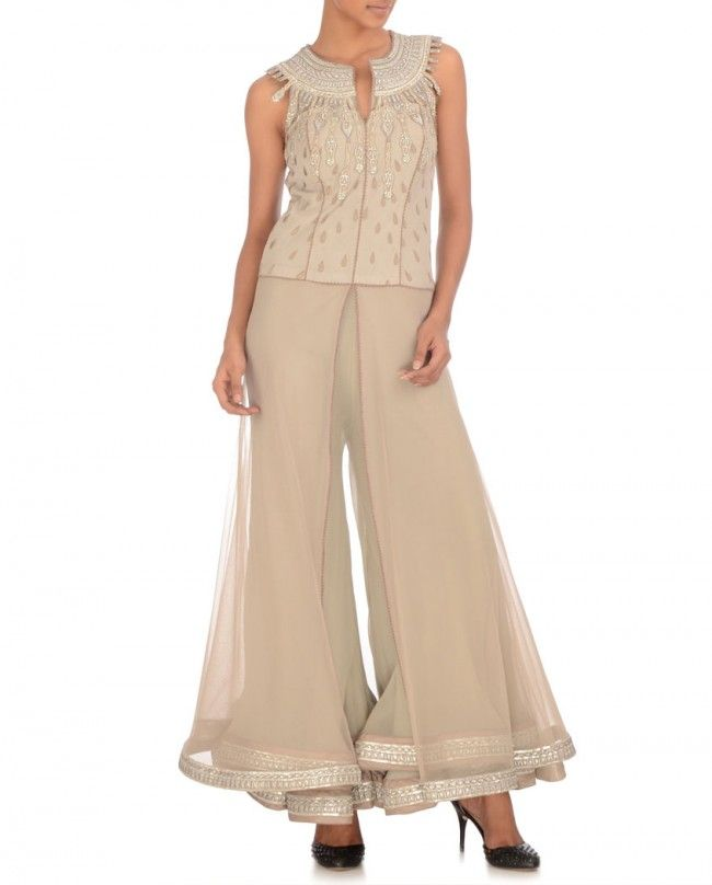 Stone Gray Jumpsuit With Bejewelled Yoke Expressionist