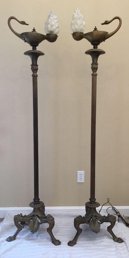 Rare Antique Bronze Aladdin Swan Torchiere Torch Floor Lamp Pair Claw Foot Base #AmericanDirectoire #Unknown