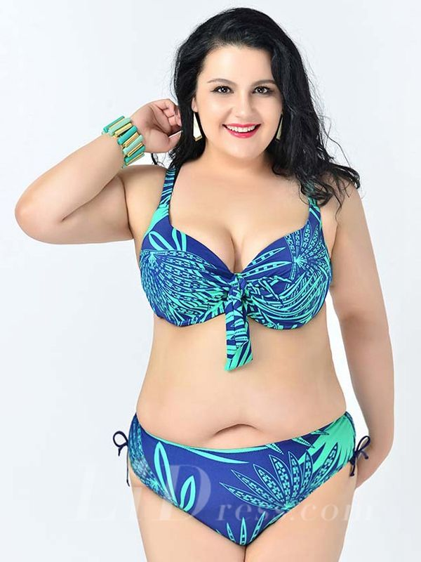 Lake Green Leaf Printed Sexy Halter One-Piece Plus Size Bikini Lidyy1605241083