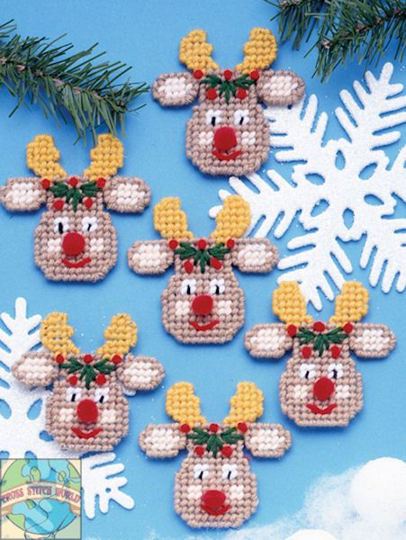 Plastic Canvas Crafts | Design Works - Reindeer Faces Ornaments (PC) - Cross Stitch World