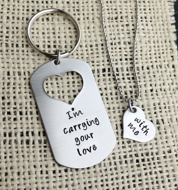 Handstamped Dog tag with missing heart keychain and necklace set I'm carrying your love with me his and her gift