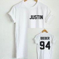 Wish | JUSTIN BIEBER 94 T-Shirt Back Letters Print Men Women T Shirt Cotton Casual Funny Shirt Short Sleeve Women Men T-shirt White Black Top Tee