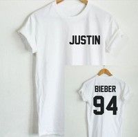 Wish | JUSTIN BIEBER 94 T-Shirt Back Letters Print Men Women T Shirt Cotton Casual Funny Shirt Short Sleeve Women Men T-shirt White Black Top Tee