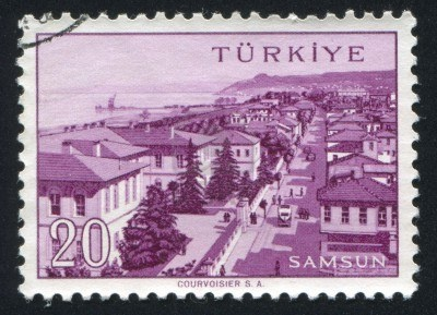 TURKEY - CIRCA 1959: stamp printed by Turkey, shows Turkish city, Samsun, circa 1959.