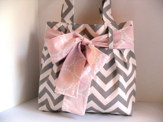 Handbag Made of Chevron  Fabric and Light Pink Bow by fromnancy, $64.00