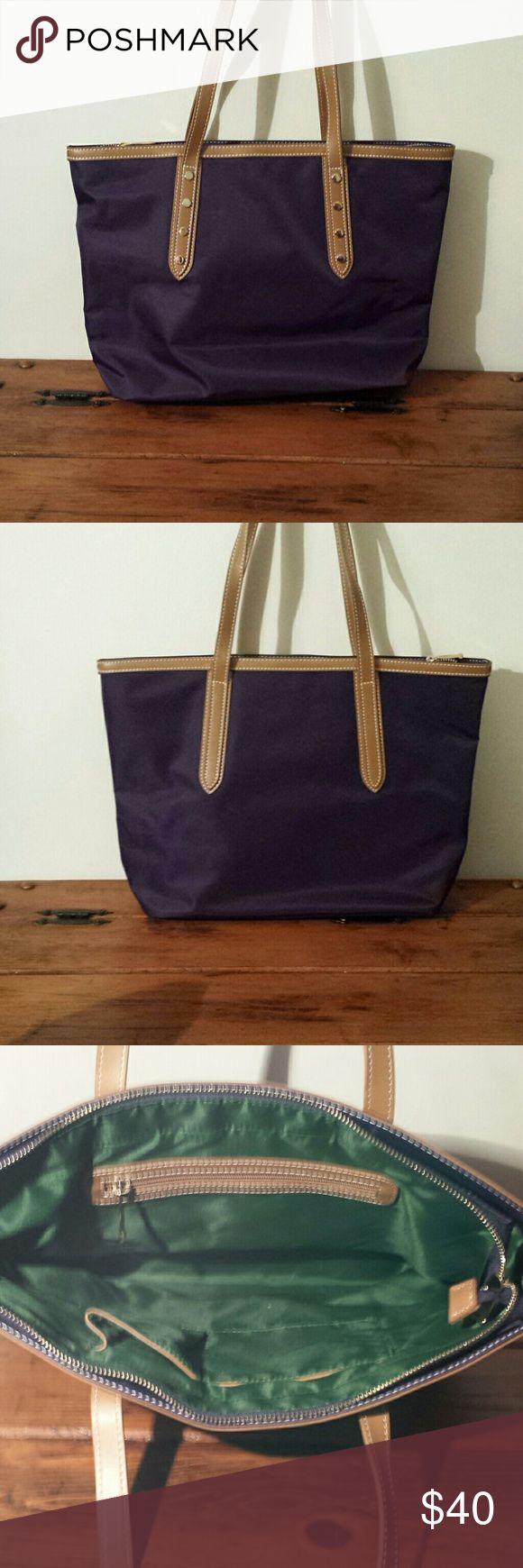 Purple nylon tote bag 16 in wide by 11 high New,purple nylon tote bag with leather straps Bags Totes