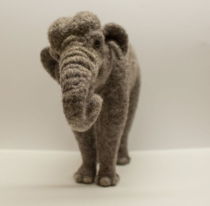 This amazing needle felted elephant was made by Megan Nedds of Ohio! How well she has captured the grace and gentle spirit of these incredibly large animals. Megan spent a few weeks to needlefelt …