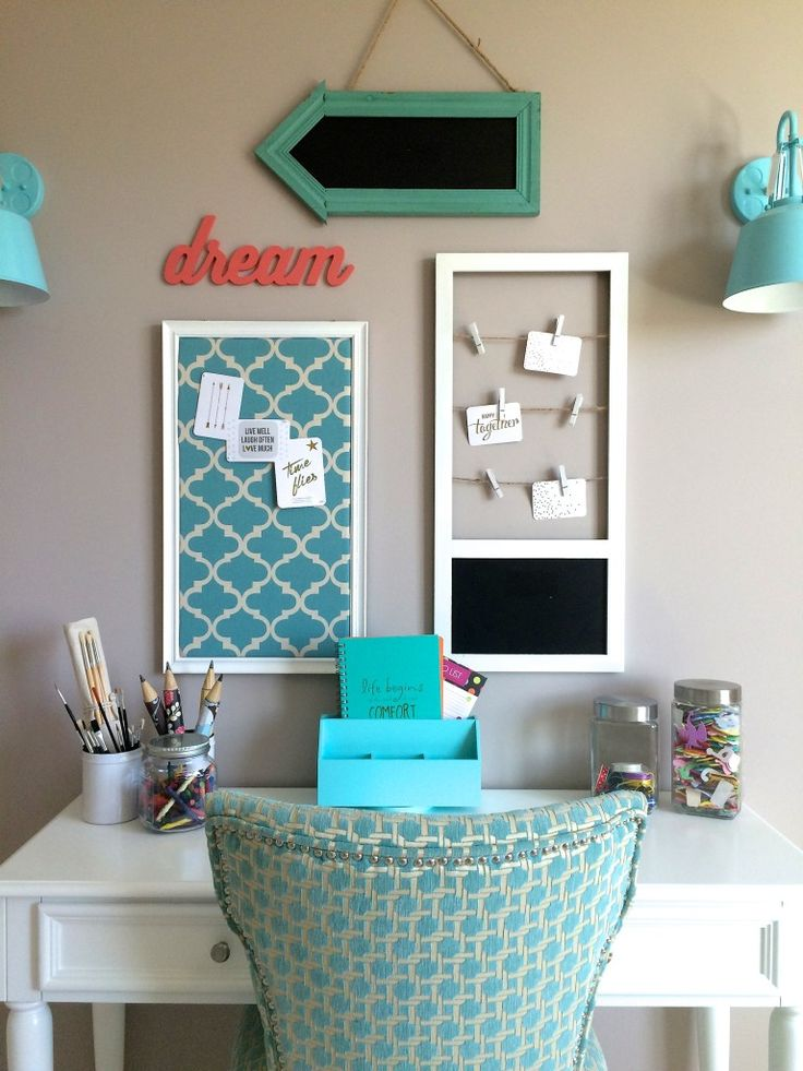 DREAM BIG with an organized desk and craft area from HomeGoods. Accents of turquoise tie this gallery wall together creating a bright cheerful space for all ages. Happy By Design Sponsored Post.