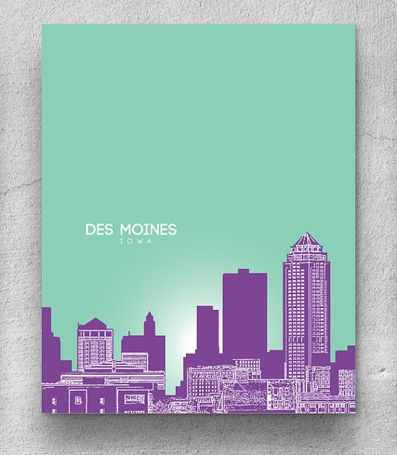 Des Moines Iowa City Skyline / Office Art for by YouandYoursPrints, $20.00