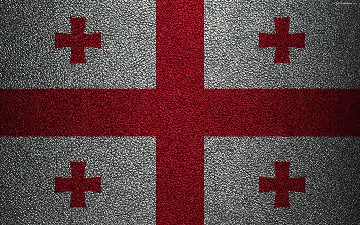 Download wallpapers Flag of Georgia, 4k, leather texture, Georgian flag, Asia, world flags, Georgia