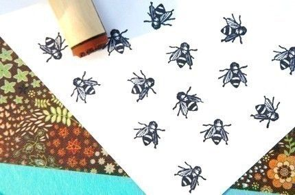 Bee Rubber Stamp. $2.30, via Etsy.