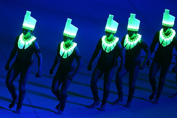 Actors perform during the closing ceremony of the 2012 London Olympic Games at the Olympic stadium in London on August 12, 2012. (Photo byCarl De Souza/AFP/Getty Images)