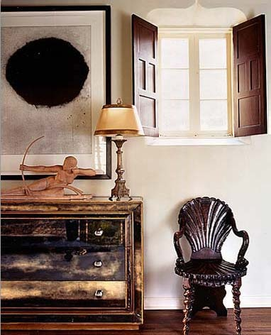 """Check out the """"shell"""" chair and the art print....the desk, the lamp and look at the high window with the shutters. Sincerely, JoAnne Craft"""