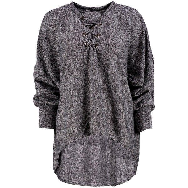 Boohoo Cara Lace Up Batwing Jumper ($24) ❤ liked on Polyvore featuring tops, sweaters, marled knit sweater, sequin sweater, party jumpers, lace up top and nordic sweater