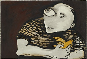 Joy Hester 'Child With yellow bird' 1957