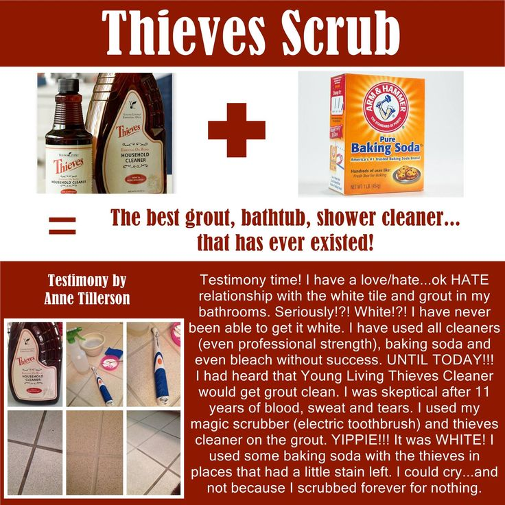 Thieves Cleaner + Baking Soda = Grout, Bathtub, shower cleaner. YL Sponsor #1963584