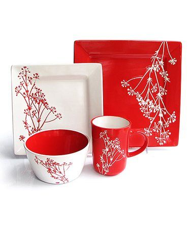This Red Blossom 16 Piece Dinnerware Set Is Perfect Zulilyfinds