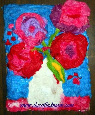 Painting with Tissue Paper- A Vincent Van Gogh Sunflowers Art Lesson