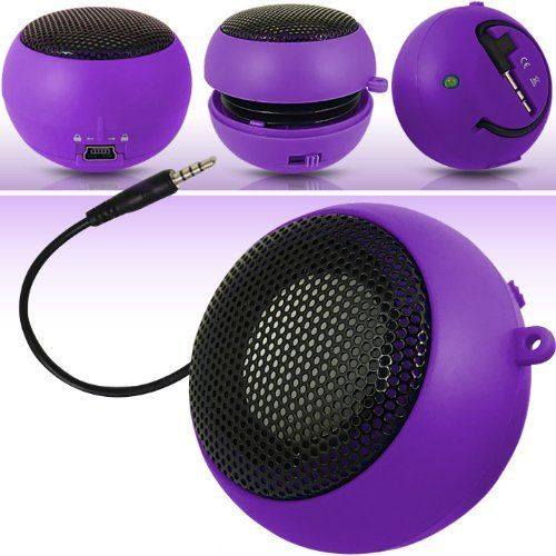 N4U Online Online Purple Super Sound Rechargeable Mini Pocket Size Portable Speaker 35mm Audio Jack Built In With Usb Charger Lead Suitable For Lg Optimus Hub ** Be sure to check out this awesome product.