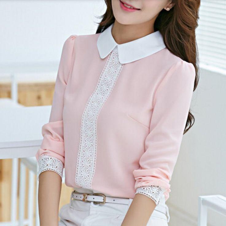 新しい秋ピーターパンの襟シフォンブラウス女性の長い袖のレースのかぎ針編みトップブラウスホワイト/ピンクblusasシャツ