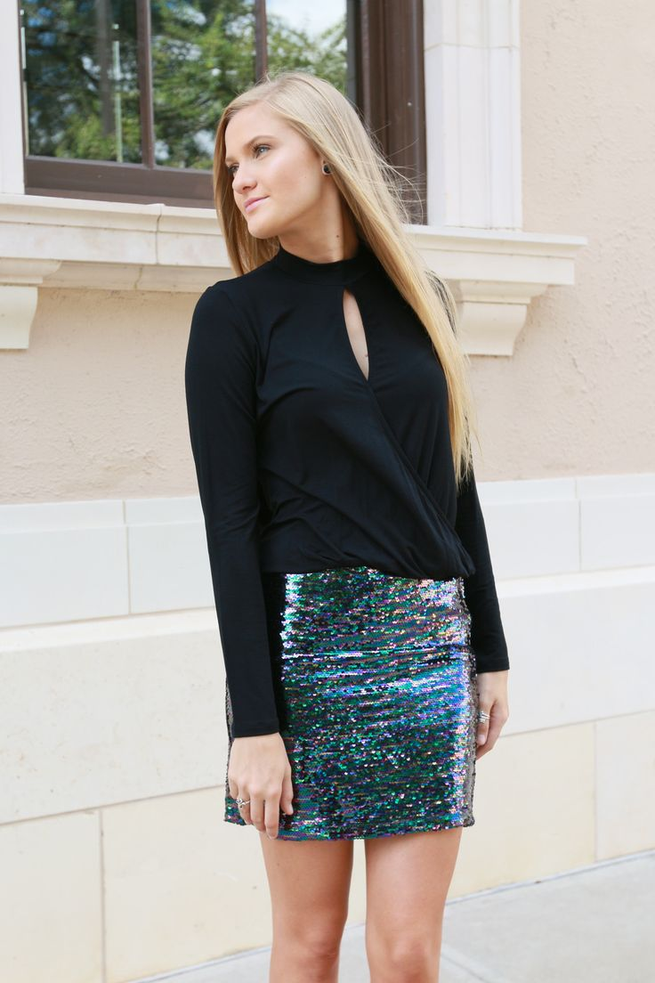 Shine through the night in this stunner of a skirt! Mermaid sequins, fitted, & fierce!