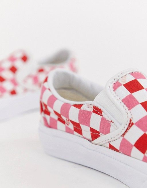 7d769ddbcd57 Vans Exclusive Red And Pink Checkerboard Slip On Sneakers in 2019 ...