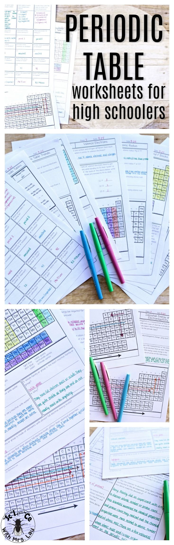 These set of homework pages or worksheets are perfect for helping your students really understand periodic table trends!  Each page instructs students to color in a trend like electronegativity, electron affinity, ionization energy, and atomic radius.  The questions are designed to really help students understand the WHY behind each trend.