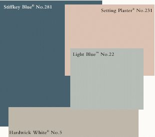 Stiffkey Blue | Setting Plaster | Light Blue | Hardwick White Downstairs colours: lounge Stiffkey blue, blackened, light blue kitchen, setting plaster hall