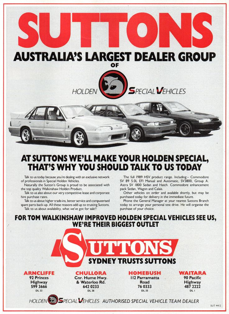 https://flic.kr/p/X7TAfh | 1989 Suttons Sydney Holden Dealer HSV Holden Special Vehicles VL Walkinsaw VN Commodore SV 89 5-0 Litre SV 38000 VN Group A Commodore LD Astra SV 1800 Sedan Aussie Original Magazine Advertisement
