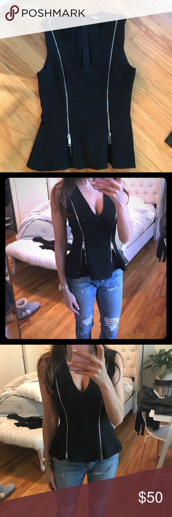 Zara black night out top with adjustable zippers Zara black night out top with adjustable zippers Zara Tops Tank Tops