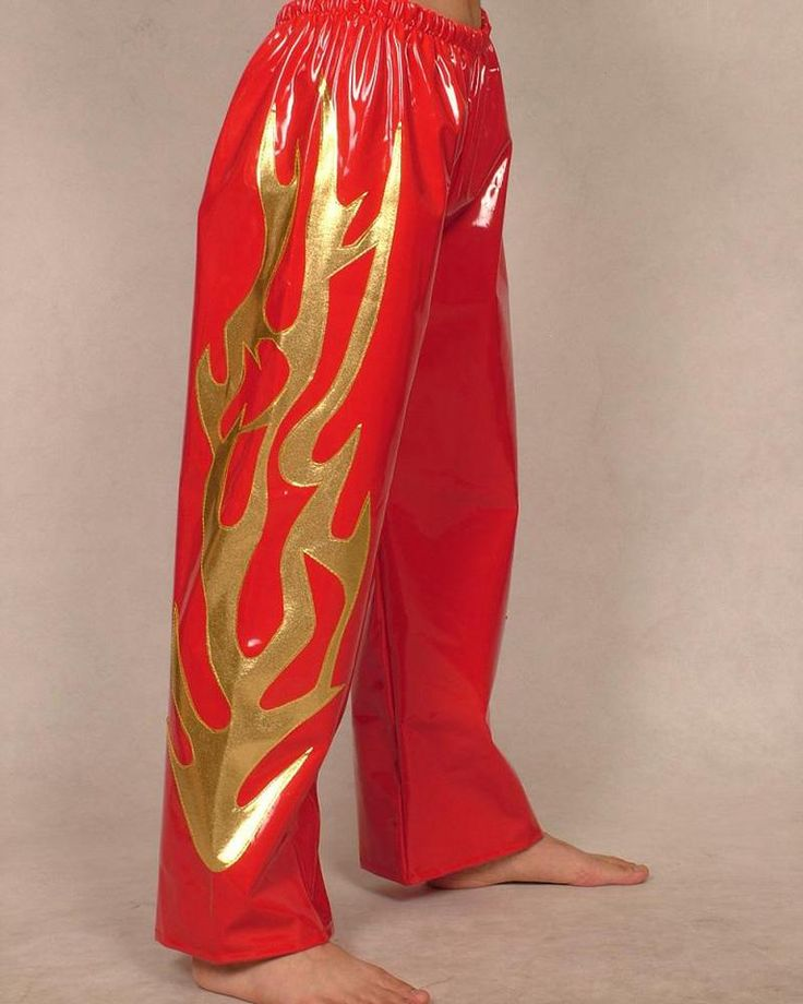 Red Flame Lycra Pvc Youth Gear Wrestling For Men Pants Suits For Kids H057