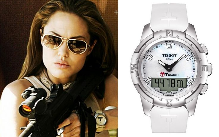Celebrity Tissot Watches Of Angelina Jolie In Mr Mrs Smith Wearing Tissot T Touch Watch Looks Great Celebrities