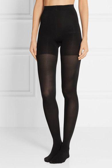 Black stretch-nylon 85% nylon, 15% spandex; lining: 55% nylon, 45% cotton Hand wash Imported