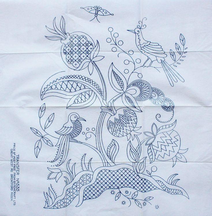 VINTAGE STITCHCRAFT LTD NO.535 LARGE JACOBEAN BIRD DESIGN EMBROIDERY TRANSFER