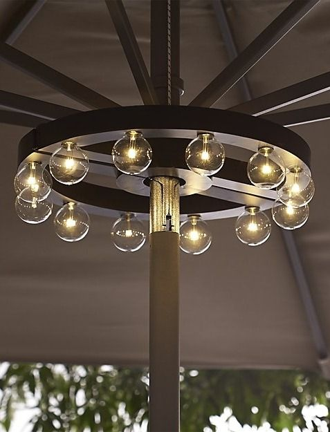 Umbrella Marquee Lights illuminate your outdoor table without extension cords or unsightly clamps. Easy-to-mount design fits snugly around an umbrella pole to cast a glow from on high. Battery-operated unit includes 12 warm-toned LED bulbs that will last approximately 20,000 hours.