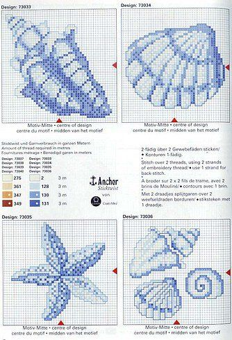Seashells cross stitch.