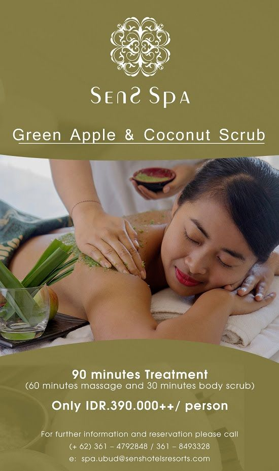 Green Apple & Coconut Scrub at Sens Spa #GreenApple #CoconutScrub #SensSpa #BaliPlusMagazine #BaliPlusInYourHand #BaliPlus #BaliMagazine #Magazine #Bali