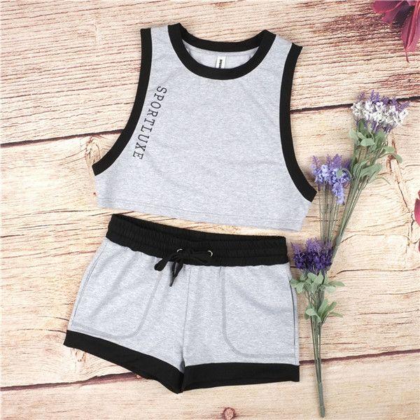 2016 letter print Tracksuit Women Sleeveless Sweatshirt +short Pant Jogging Sports Costumes Track suit women sportswear suit set