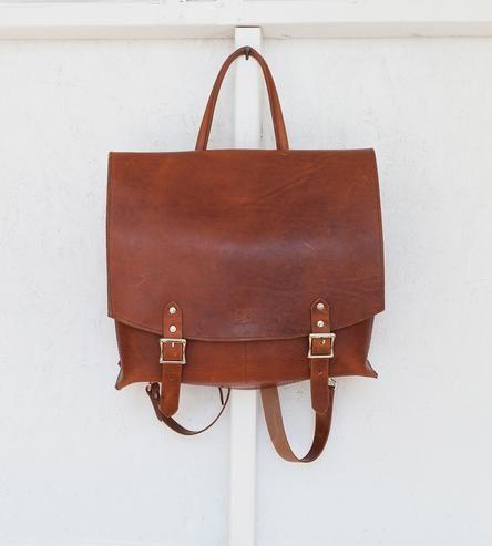 Leather & Canvas Messenger Backpack