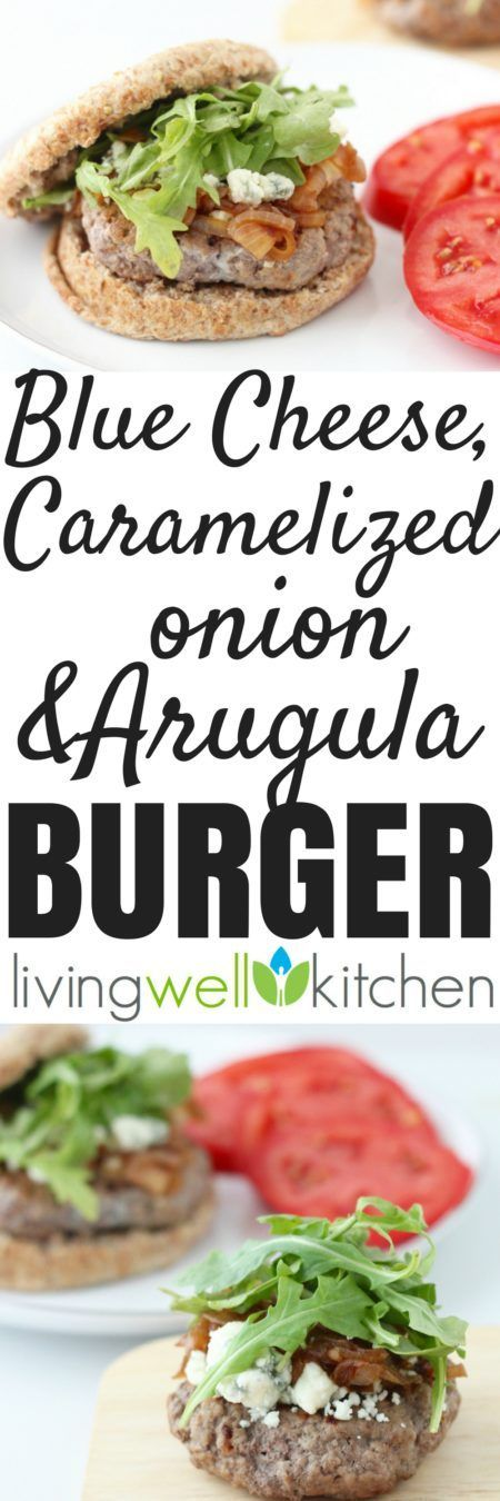 Use a cast iron skillet for a delicious, juicy burger, and up the flavor by adding blue cheese, caramelized onions and arugula. This Blue Cheese, Caramelized Onion and Arugula Burger recipe from @memeinge is great for a tasty burger without a grill. Can be gluten free