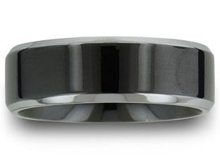 Black Flat Top Men's Titanium Wedding Ring Available Exclusively at Gemologica.com