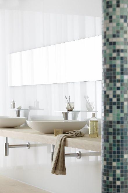 Waskom met onzichtbare sifon van Geberit #wastafel #badkamer