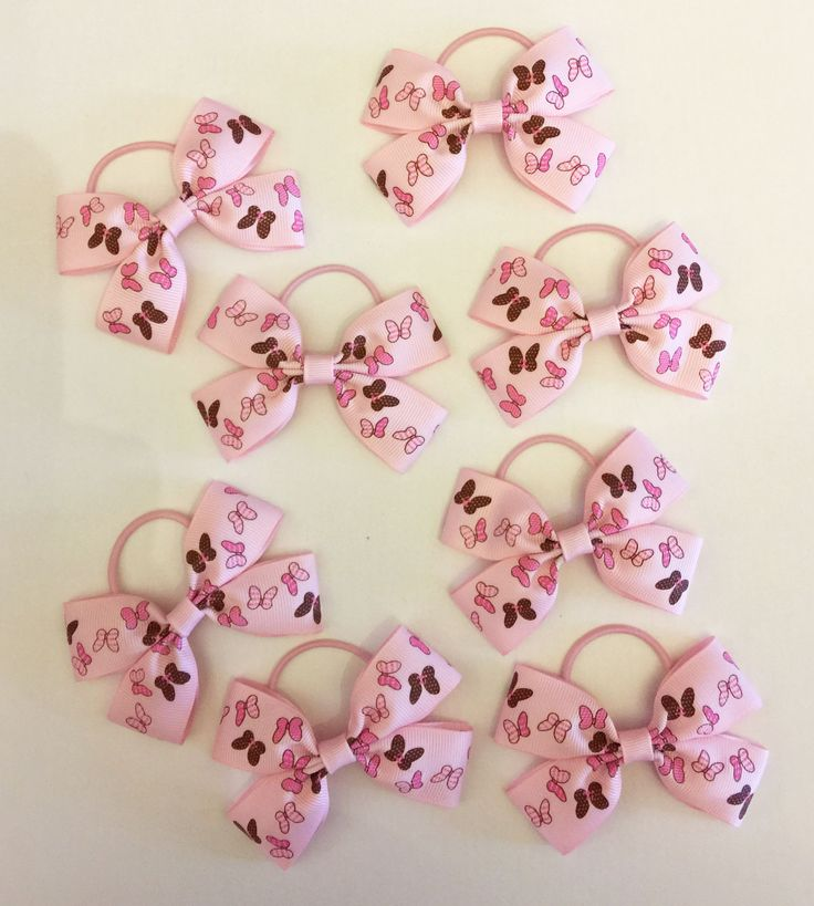 Pink butterfly design hair bows on thin bobbles - www.dreambows.co.uk girls hair bows for sale, fashion bows for girls hair, little girls hair bows, baby pink hair bows