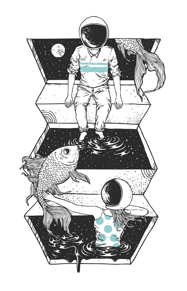 """Space guy and space girl play in their cosmic pond """"Space Between"""" by Norman Duenas"""