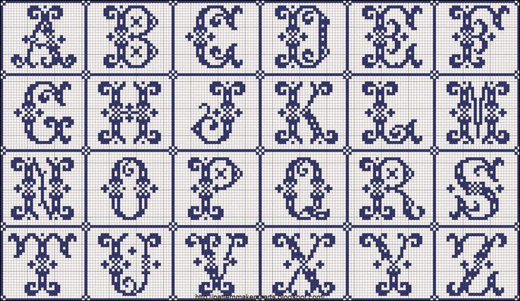 Hobby lavori femminili - ricamo - uncinetto - maglia: alfabeto elegante punto croce