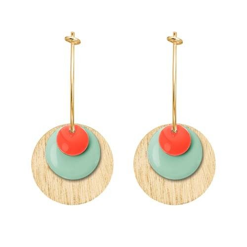ENAMEL Copenhagen drops earring coin, neon coral, mint green, gold