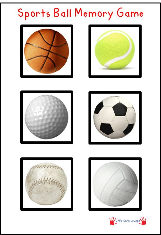 Free Printable Sports Ball Memory Game. Print out twice. Cut out each picture and play Memory.